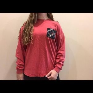 Long sleeve red southern marsh T-shirt
